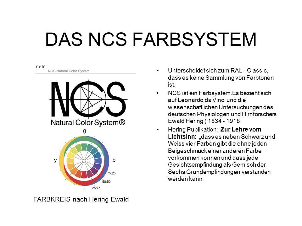 DAS NCS FARBSYSTEM Unterscheidet sich zum RAL - Classic, dass es keine Sammlung von Farbtönen ist.