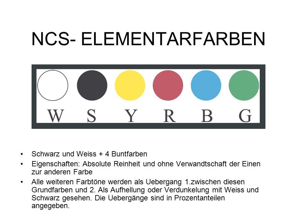 NCS- ELEMENTARFARBEN Schwarz und Weiss + 4 Buntfarben Eigenschaften: Absolute Reinheit und ohne Verwandtschaft der Einen zur anderen Farbe Alle weiteren Farbtöne werden als Uebergang 1.zwischen diesen Grundfarben und 2.