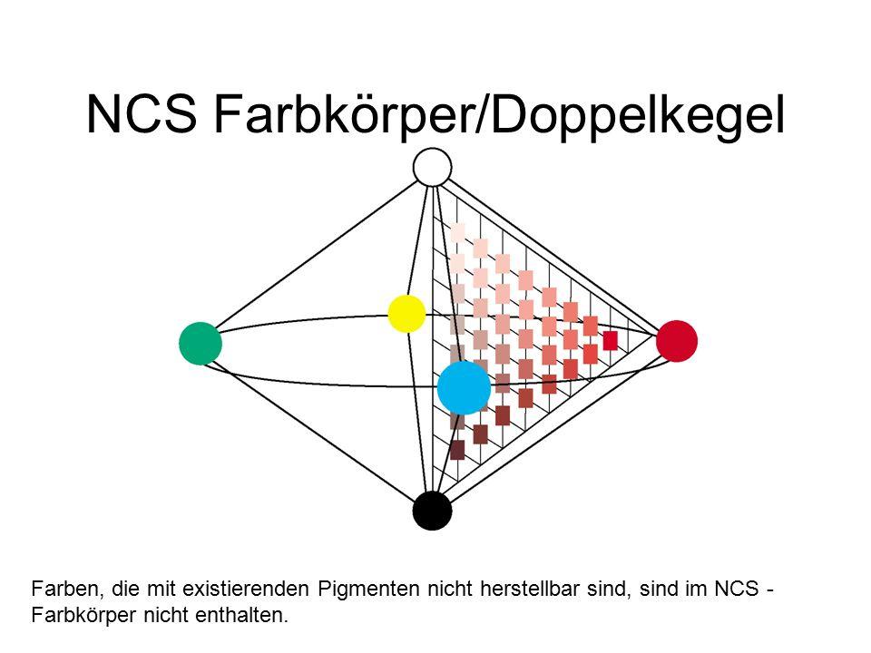 NCS Farbkörper/Doppelkegel Farben, die mit existierenden Pigmenten nicht herstellbar sind, sind im NCS - Farbkörper nicht enthalten.