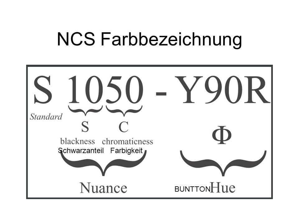 NCS Farbbezeichnung BUNTTON SchwarzanteilFarbigkeit