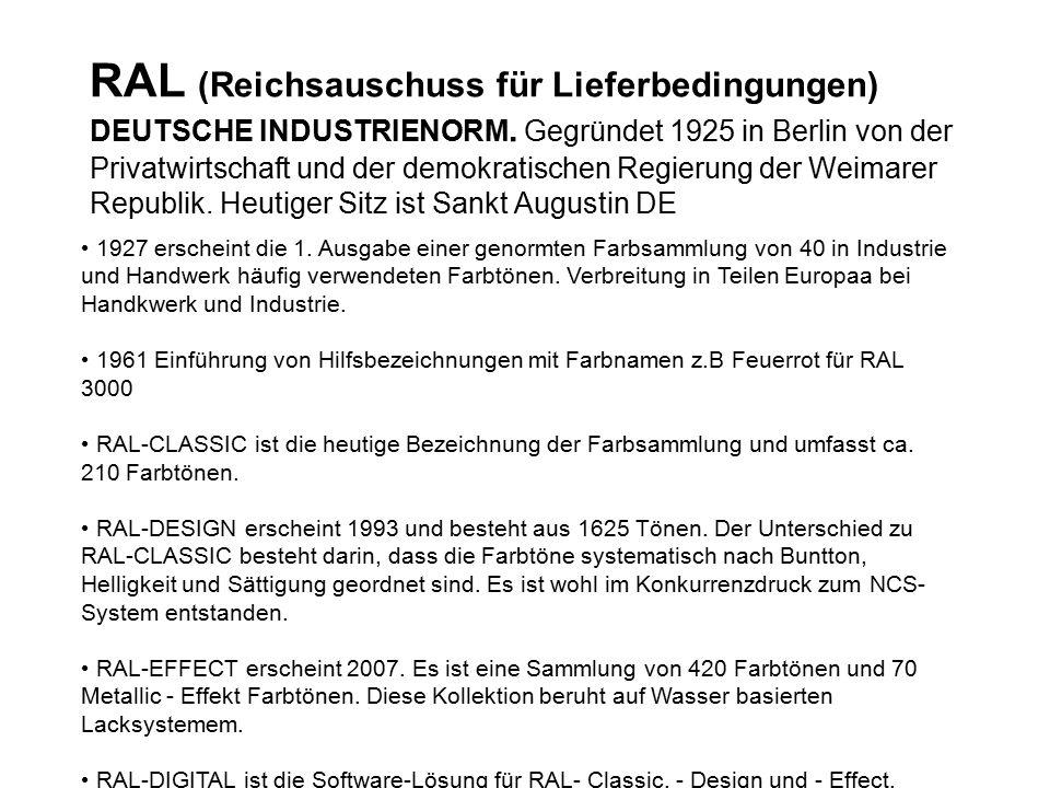 RAL (Reichsauschuss für Lieferbedingungen) DEUTSCHE INDUSTRIENORM.