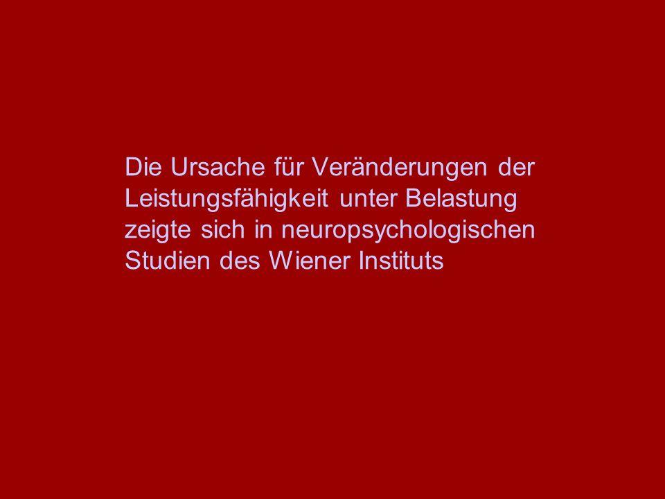 Die Ursache für Veränderungen der Leistungsfähigkeit unter Belastung zeigte sich in neuropsychologischen Studien des Wiener Instituts