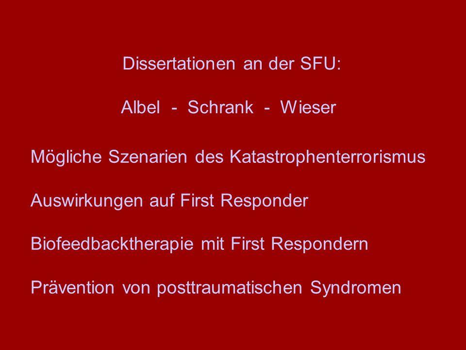Dissertationen an der SFU: Albel - Schrank - Wieser Mögliche Szenarien des Katastrophenterrorismus Auswirkungen auf First Responder Biofeedbacktherapi