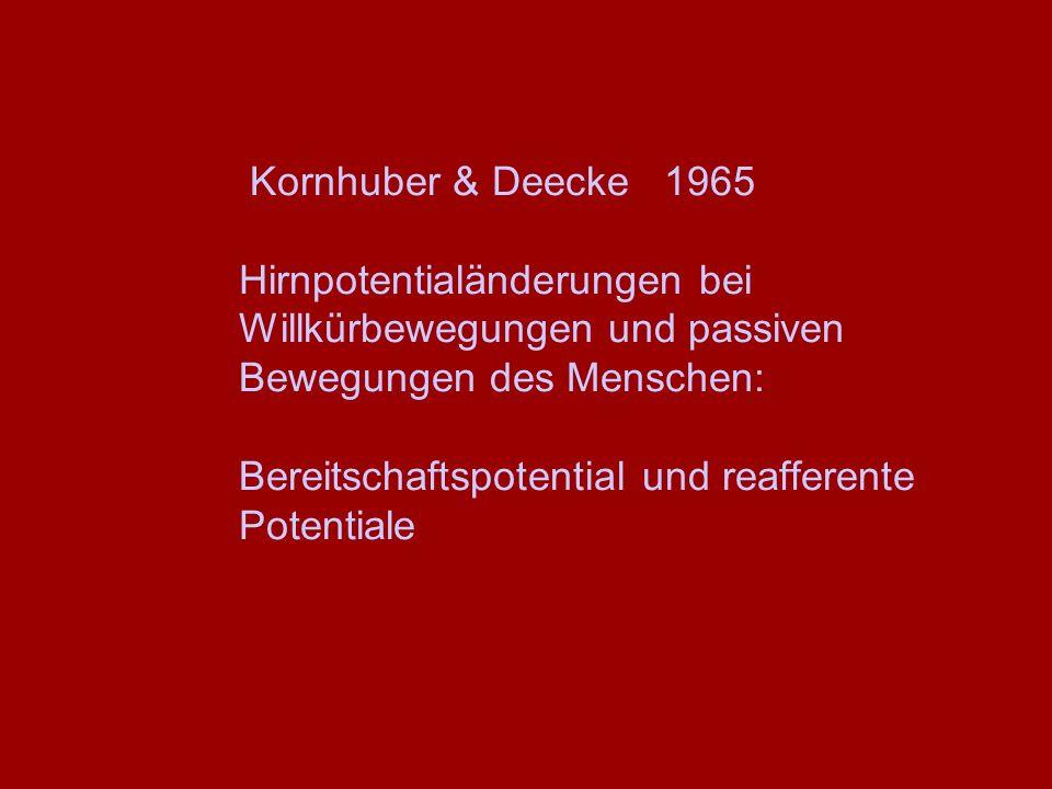 Kornhuber & Deecke 1965 Hirnpotentialänderungen bei Willkürbewegungen und passiven Bewegungen des Menschen: Bereitschaftspotential und reafferente Pot