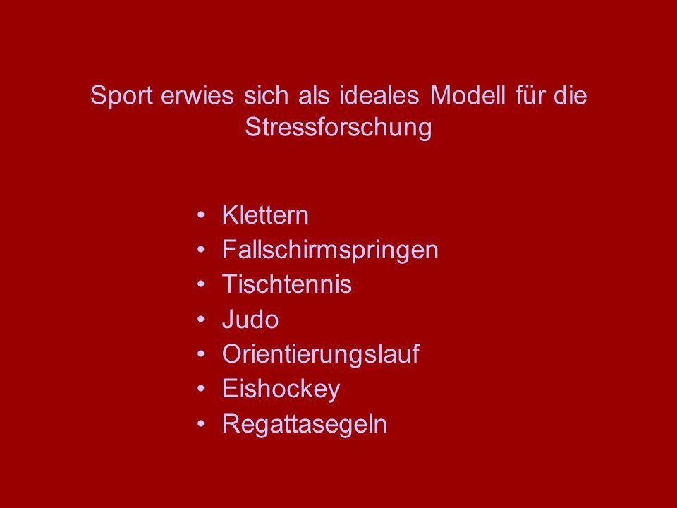 Sport erwies sich als ideales Modell für die Stressforschung Klettern Fallschirmspringen Tischtennis Judo Orientierungslauf Eishockey Regattasegeln