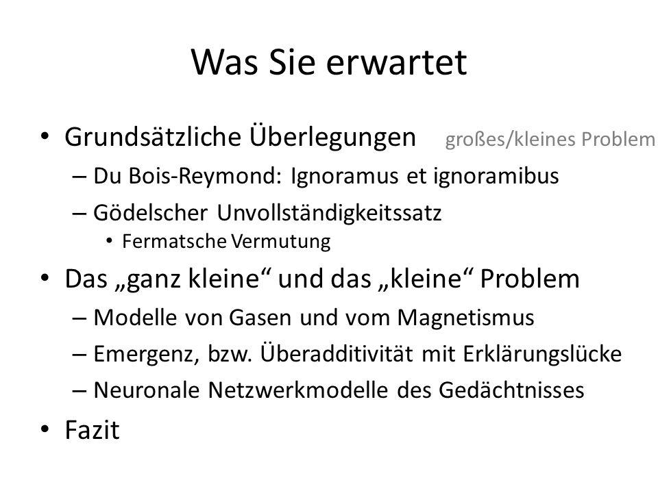 """Was Sie erwartet Grundsätzliche Überlegungen großes/kleines Problem – Du Bois-Reymond: Ignoramus et ignoramibus – Gödelscher Unvollständigkeitssatz Fermatsche Vermutung Das """"ganz kleine und das """"kleine Problem – Modelle von Gasen und vom Magnetismus – Emergenz, bzw."""