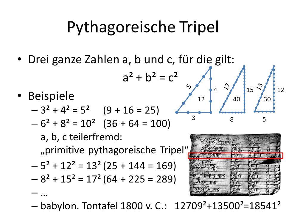 """Pythagoreische Tripel Drei ganze Zahlen a, b und c, für die gilt: a² + b² = c² Beispiele – 3² + 4² = 5²(9 + 16 = 25) – 6² + 8² = 10²(36 + 64 = 100) langweilig a, b, c teilerfremd: """"primitive pythagoreische Tripel – 5² + 12² = 13²(25 + 144 = 169) – 8² + 15² = 17²(64 + 225 = 289) –…–… – babylon."""