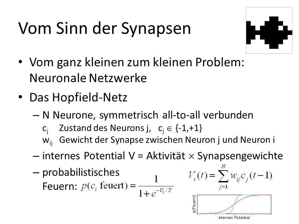 Vom Sinn der Synapsen Vom ganz kleinen zum kleinen Problem: Neuronale Netzwerke Das Hopfield-Netz – N Neurone, symmetrisch all-to-all verbunden c j Zustand des Neurons j, c j  {-1,+1} w ij Gewicht der Synapse zwischen Neuron j und Neuron i – internes Potential V = Aktivität  Synapsengewichte – probabilistisches Feuern: