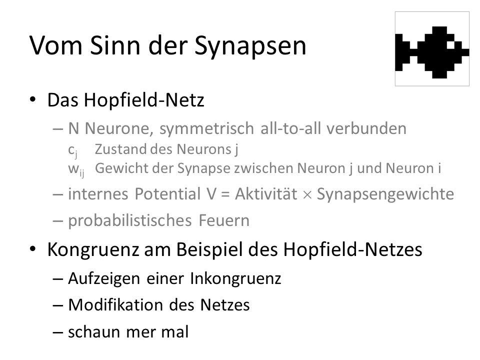 Vom Sinn der Synapsen Das Hopfield-Netz – N Neurone, symmetrisch all-to-all verbunden c j Zustand des Neurons j w ij Gewicht der Synapse zwischen Neuron j und Neuron i – internes Potential V = Aktivität  Synapsengewichte – probabilistisches Feuern Kongruenz am Beispiel des Hopfield-Netzes – Aufzeigen einer Inkongruenz – Modifikation des Netzes – schaun mer mal