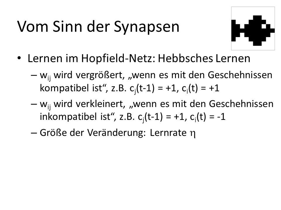 """Vom Sinn der Synapsen Lernen im Hopfield-Netz: Hebbsches Lernen – w ij wird vergrößert, """"wenn es mit den Geschehnissen kompatibel ist , z.B."""