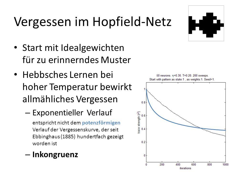 Vergessen im Hopfield-Netz Start mit Idealgewichten für zu erinnerndes Muster Hebbsches Lernen bei hoher Temperatur bewirkt allmähliches Vergessen – Exponentieller Verlauf entspricht nicht dem potenzförmigen Verlauf der Vergessenskurve, der seit Ebbinghaus (1885) hundertfach gezeigt worden ist – Inkongruenz
