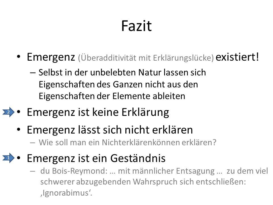Fazit Emergenz (Überadditivität mit Erklärungslücke) existiert.
