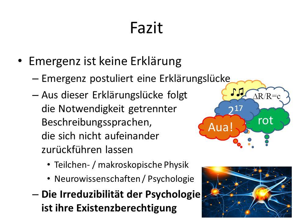 Fazit Emergenz ist keine Erklärung – Emergenz postuliert eine Erklärungslücke – Aus dieser Erklärungslücke folgt die Notwendigkeit getrennter Beschreibungssprachen, die sich nicht aufeinander zurückführen lassen Teilchen- / makroskopische Physik Neurowissenschaften / Psychologie – Die Irreduzibilität der Psychologie ist ihre Existenzberechtigung ♪♫ rot 2 17 Aua.
