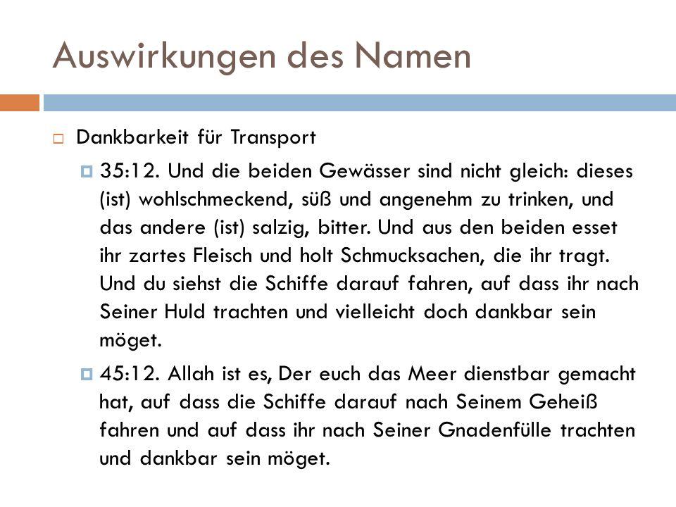 Auswirkungen des Namen  Dankbarkeit für Transport  35:12.