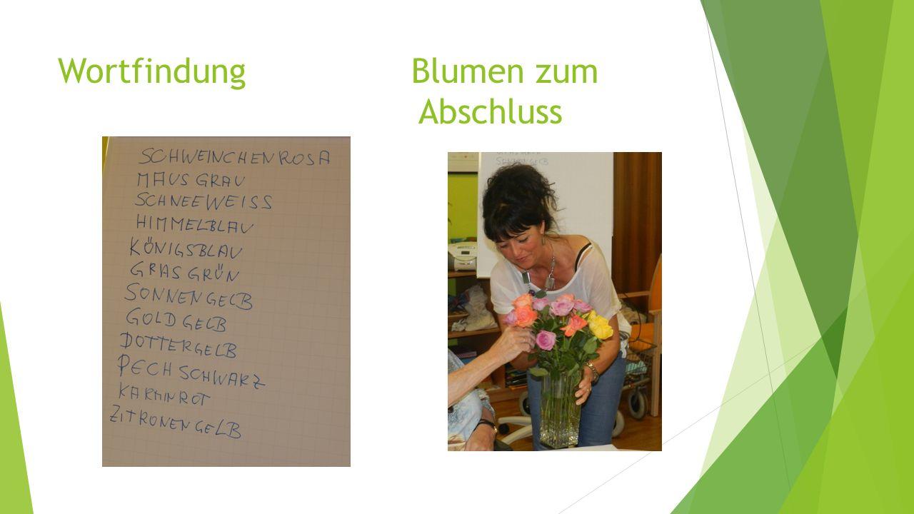 Wortfindung Blumen zum Abschluss