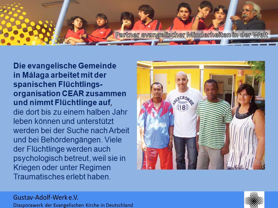 Die evangelische Gemeinde in Málaga arbeitet mit der spanischen Flüchtlings- organisation CEAR zusammen und nimmt Flüchtlinge auf, die dort bis zu ein