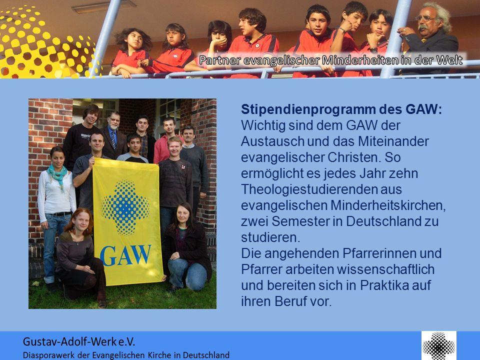 Stipendienprogramm des GAW: Wichtig sind dem GAW der Austausch und das Miteinander evangelischer Christen. So ermöglicht es jedes Jahr zehn Theologies