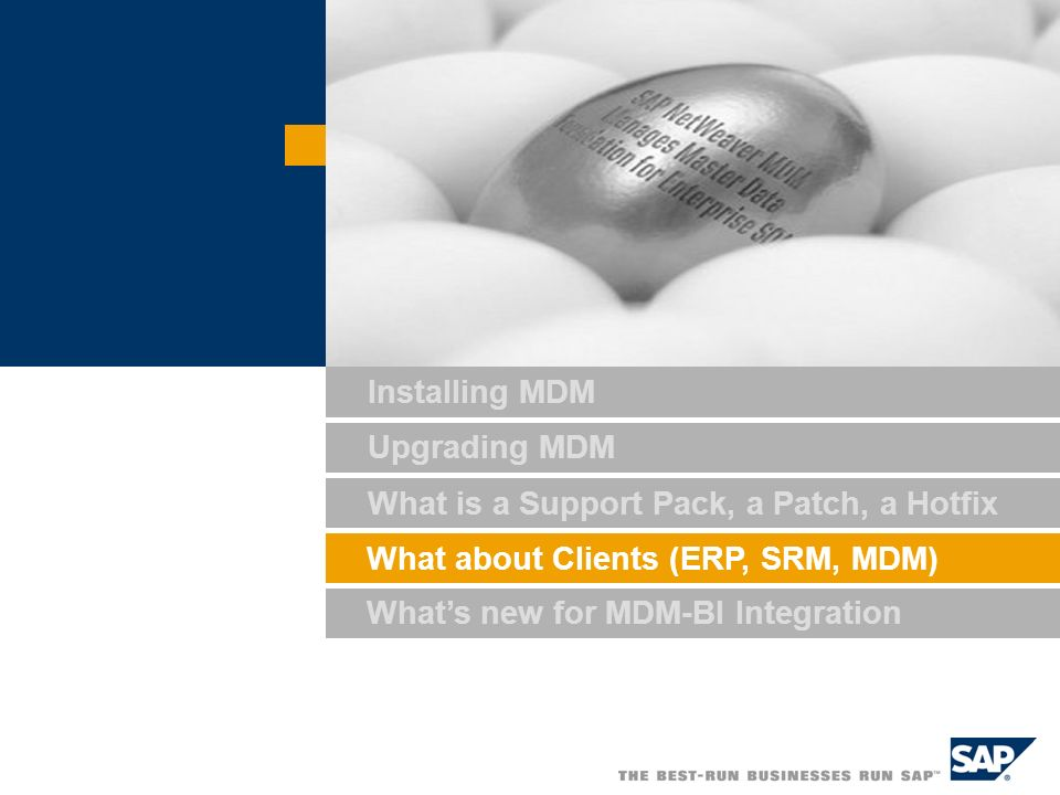 Installing MDM Upgrading MDM What is a Support Pack, a Patch, a Hotfix What about Clients (ERP, SRM, MDM) What's new for MDM-BI Integration