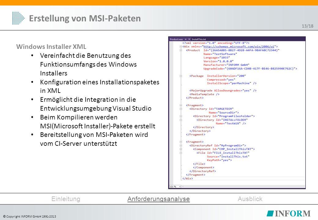 © Copyright INFORM GmbH 1991-2013 Erstellung von MSI-Paketen Windows Installer XML Vereinfacht die Benutzung des Funktionsumfangs des Windows Installers Konfiguration eines Installationspaketes in XML Ermöglicht die Integration in die Entwicklungsumgebung Visual Studio Beim Kompilieren werden MSI(Microsoft Installer)-Pakete erstellt Bereitstellung von MSI-Paketen wird vom CI-Server unterstützt EinleitungAnforderungsanalyseAusblick 13/18