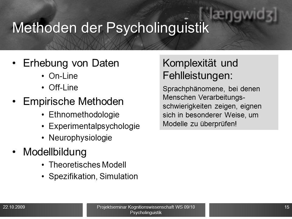 Methoden der Psycholinguistik Erhebung von Daten On-Line Off-Line Empirische Methoden Ethnomethodologie Experimentalpsychologie Neurophysiologie Modellbildung Theoretisches Modell Spezifikation, Simulation 22.10.200915 Projektseminar Kognitionswissenschaft WS 09/10 Psycholinguistik Komplexität und Fehlleistungen: Sprachphänomene, bei denen Menschen Verarbeitungs- schwierigkeiten zeigen, eignen sich in besonderer Weise, um Modelle zu überprüfen!
