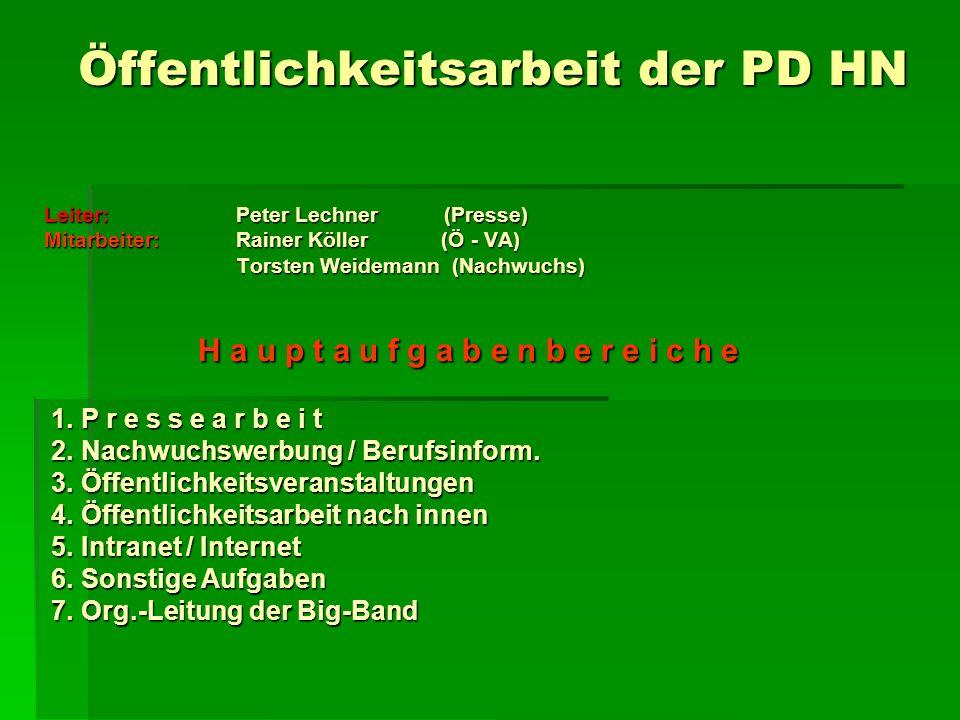 Öffentlichkeitsarbeit der PD HN Öffentlichkeitsarbeit der PD HN Leiter: Peter Lechner (Presse) Mitarbeiter: Rainer Köller (Ö - VA) Torsten Weidemann (Nachwuchs) Torsten Weidemann (Nachwuchs) H a u p t a u f g a b e n b e r e i c h e 1.