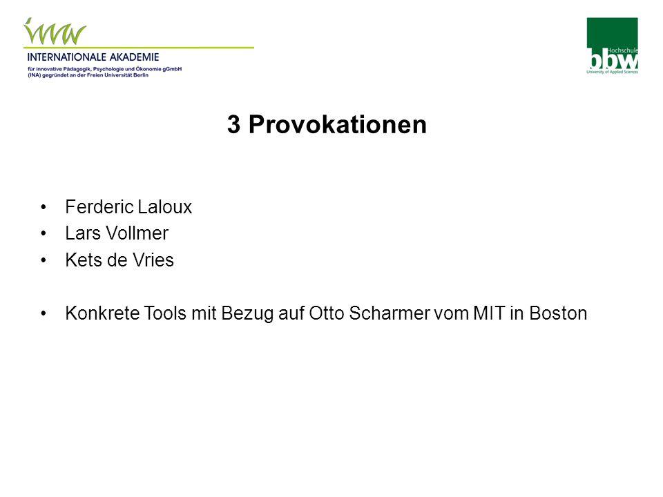 3 Provokationen Ferderic Laloux Lars Vollmer Kets de Vries Konkrete Tools mit Bezug auf Otto Scharmer vom MIT in Boston