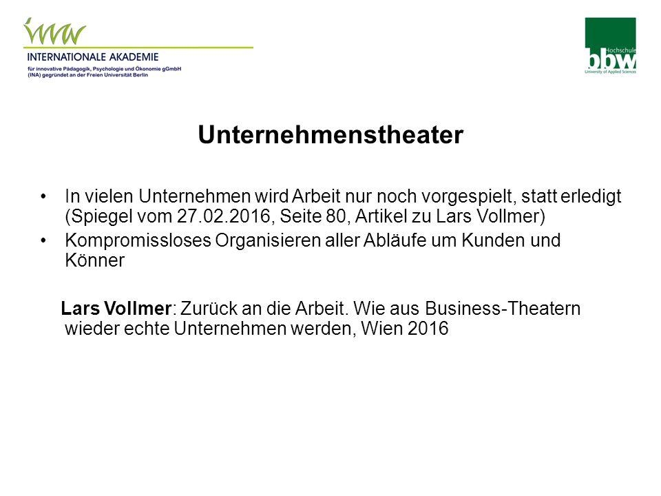 Unternehmenstheater In vielen Unternehmen wird Arbeit nur noch vorgespielt, statt erledigt (Spiegel vom 27.02.2016, Seite 80, Artikel zu Lars Vollmer) Kompromissloses Organisieren aller Abläufe um Kunden und Könner Lars Vollmer: Zurück an die Arbeit.