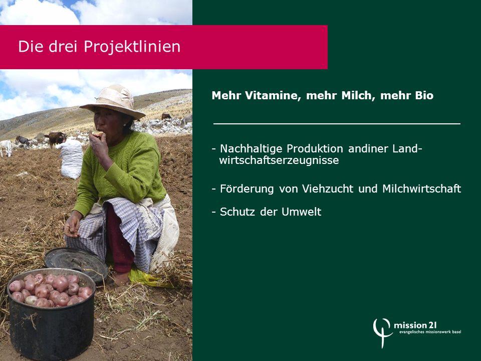 Mehr Vitamine, mehr Milch, mehr Bio - Nachhaltige Produktion andiner Land- wirtschaftserzeugnisse - Förderung von Viehzucht und Milchwirtschaft - Schutz der Umwelt Die drei Projektlinien