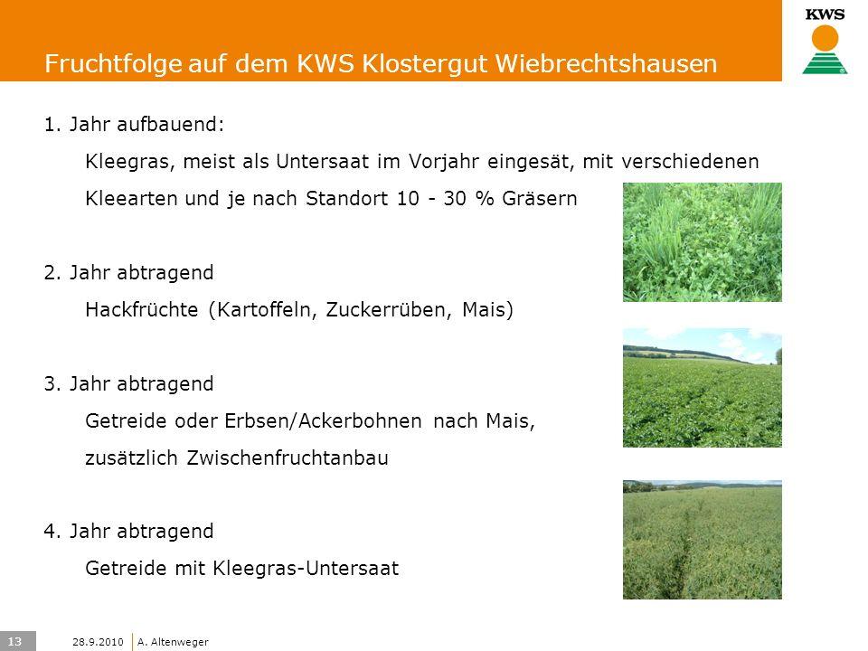 13 KWS UK-LT/HO A. Altenweger 28.9.2010 Fruchtfolge auf dem KWS Klostergut Wiebrechtshausen 1. Jahr aufbauend: Kleegras, meist als Untersaat im Vorjah