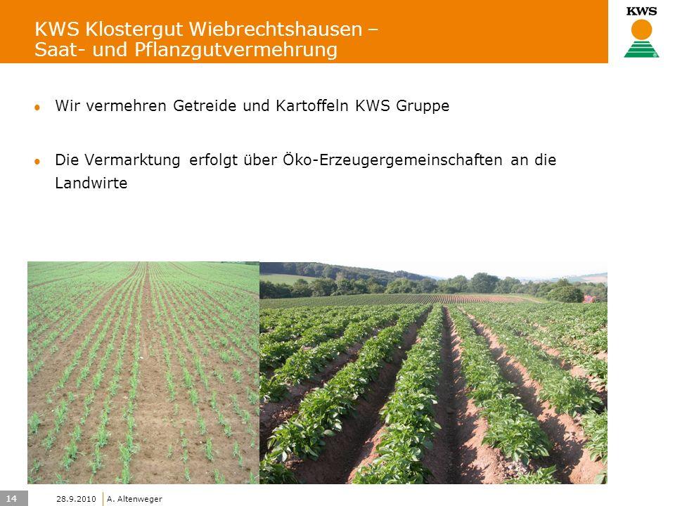 14 KWS UK-LT/HO A. Altenweger 28.9.2010 KWS Klostergut Wiebrechtshausen – Saat- und Pflanzgutvermehrung Wir vermehren Getreide und Kartoffeln KWS Grup