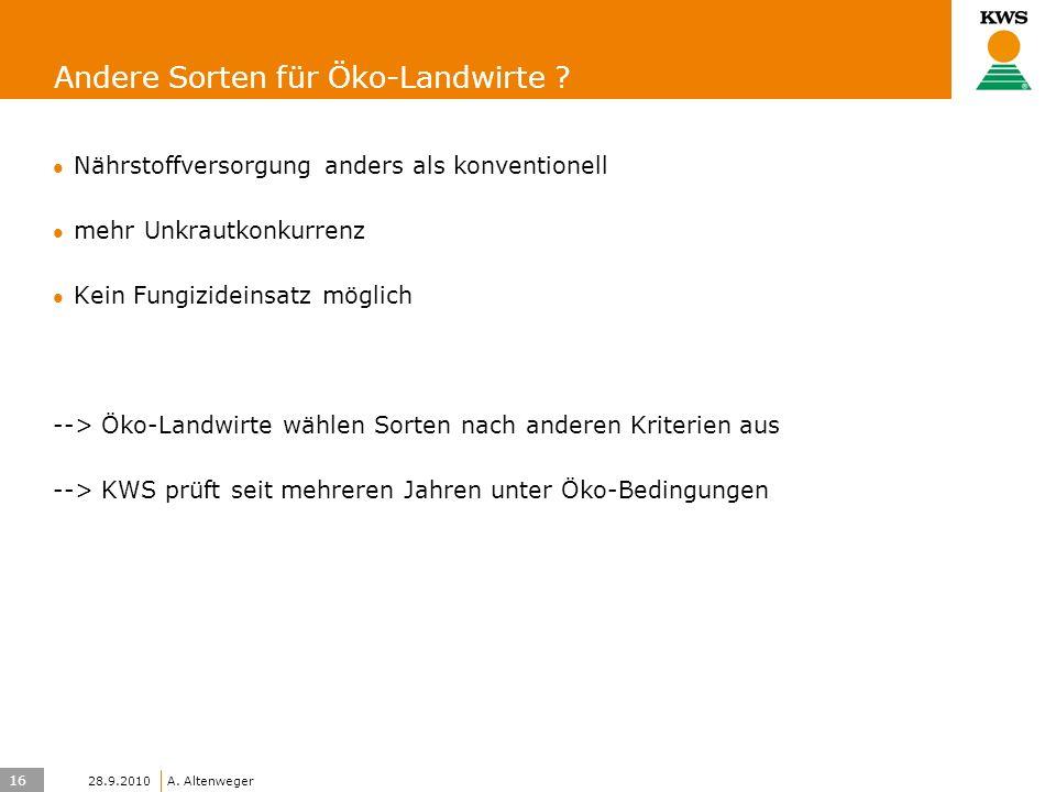16 KWS UK-LT/HO A. Altenweger 28.9.2010 Andere Sorten für Öko-Landwirte .