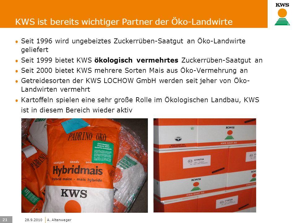 21 KWS UK-LT/HO A. Altenweger 28.9.2010 KWS ist bereits wichtiger Partner der Öko-Landwirte Seit 1996 wird ungebeiztes Zuckerrüben-Saatgut an Öko-Land