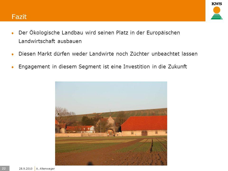 22 KWS UK-LT/HO A. Altenweger 28.9.2010 Fazit Der Ökologische Landbau wird seinen Platz in der Europäischen Landwirtschaft ausbauen Diesen Markt dürfe
