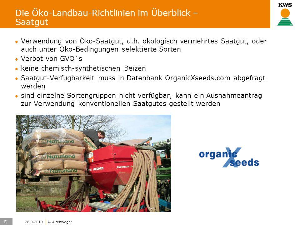 5 KWS UK-LT/HO A. Altenweger 28.9.2010 Die Öko-Landbau-Richtlinien im Überblick – Saatgut Verwendung von Öko-Saatgut, d.h. ökologisch vermehrtes Saatg