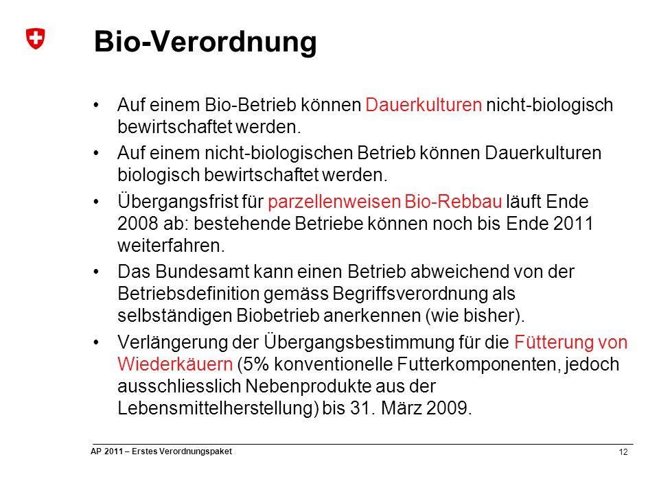 12 AP 2011 – Erstes Verordnungspaket Bio-Verordnung Auf einem Bio-Betrieb können Dauerkulturen nicht-biologisch bewirtschaftet werden.