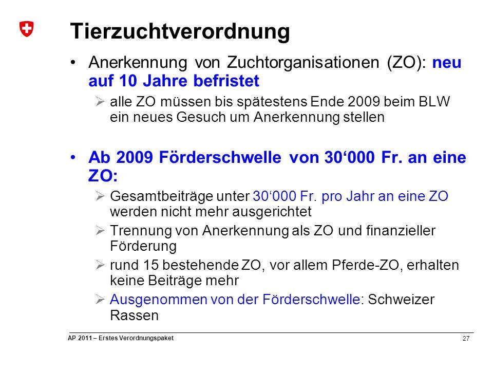 27 AP 2011 – Erstes Verordnungspaket Tierzuchtverordnung Anerkennung von Zuchtorganisationen (ZO): neu auf 10 Jahre befristet  alle ZO müssen bis spätestens Ende 2009 beim BLW ein neues Gesuch um Anerkennung stellen Ab 2009 Förderschwelle von 30'000 Fr.