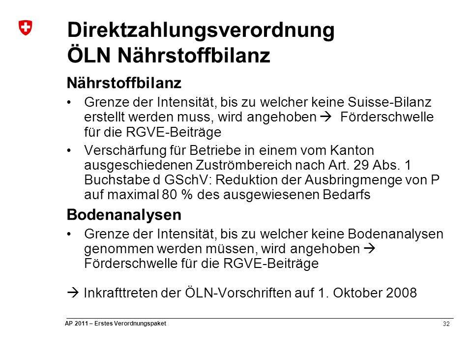 32 AP 2011 – Erstes Verordnungspaket Nährstoffbilanz Grenze der Intensität, bis zu welcher keine Suisse-Bilanz erstellt werden muss, wird angehoben  Förderschwelle für die RGVE-Beiträge Verschärfung für Betriebe in einem vom Kanton ausgeschiedenen Zuströmbereich nach Art.
