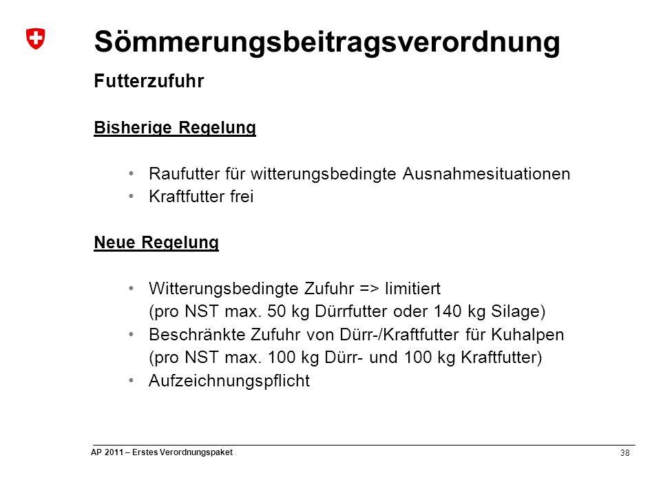 38 AP 2011 – Erstes Verordnungspaket Sömmerungsbeitragsverordnung Futterzufuhr Bisherige Regelung Raufutter für witterungsbedingte Ausnahmesituationen Kraftfutter frei Neue Regelung Witterungsbedingte Zufuhr => limitiert (pro NST max.
