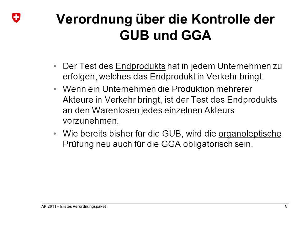 6 AP 2011 – Erstes Verordnungspaket Verordnung über die Kontrolle der GUB und GGA Der Test des Endprodukts hat in jedem Unternehmen zu erfolgen, welches das Endprodukt in Verkehr bringt.