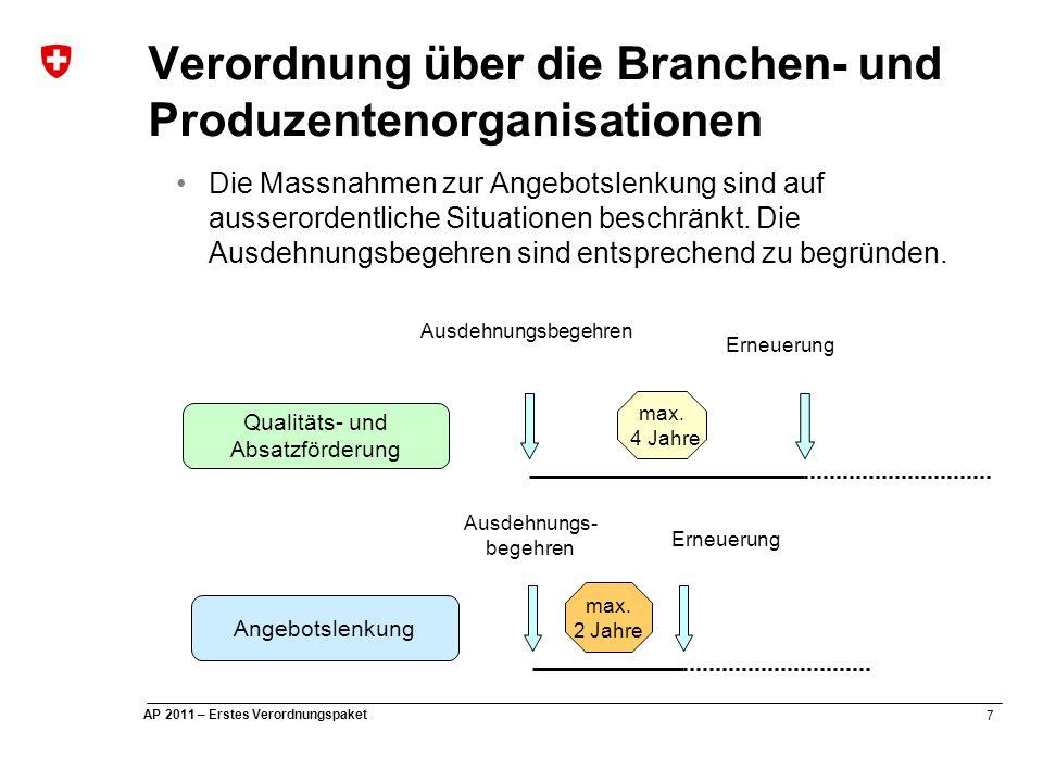 7 AP 2011 – Erstes Verordnungspaket Verordnung über die Branchen- und Produzentenorganisationen Die Massnahmen zur Angebotslenkung sind auf ausserordentliche Situationen beschränkt.