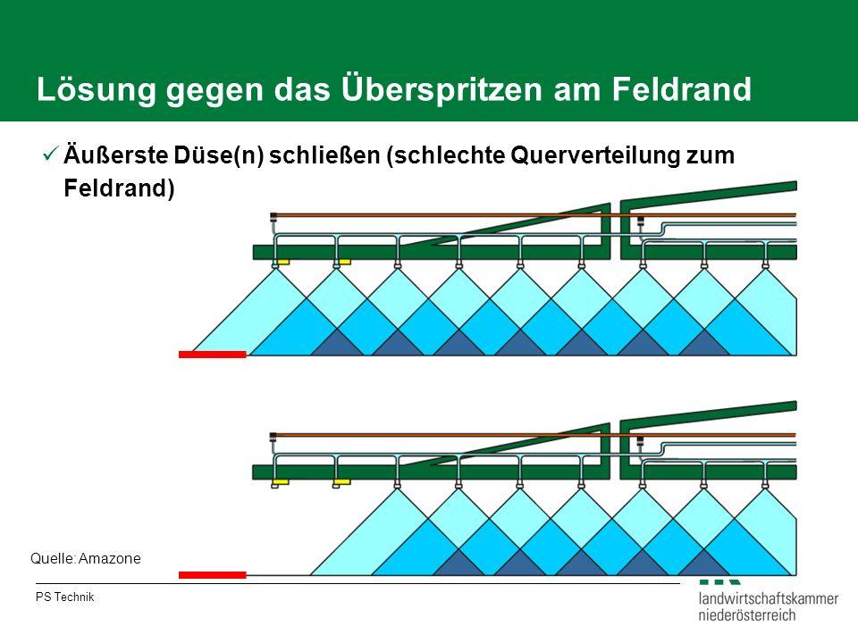 Lösung gegen das Überspritzen am Feldrand Äußerste Düse(n) schließen (schlechte Querverteilung zum Feldrand) Quelle: Amazone PS Technik