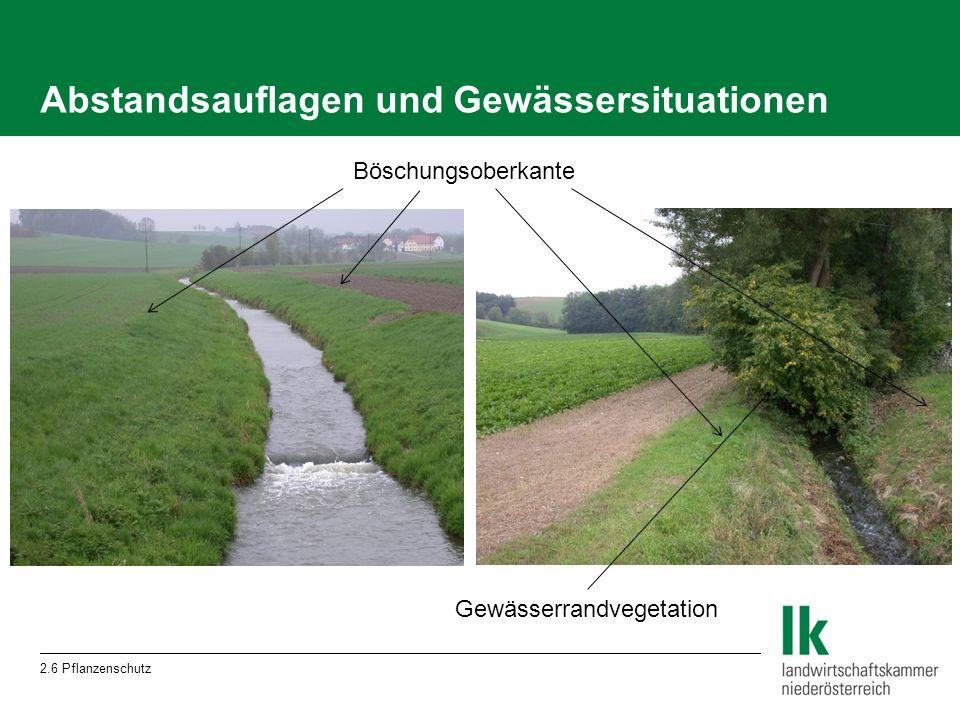 Abstandsauflagen und Gewässersituationen 2.6 Pflanzenschutz Böschungsoberkante Gewässerrandvegetation
