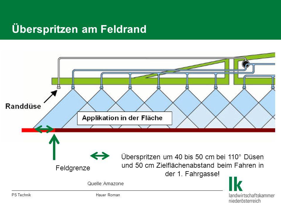 Überspritzen am Feldrand PS Technik Hauer Roman Feldgrenze Überspritzen um 40 bis 50 cm bei 110° Düsen und 50 cm Zielflächenabstand beim Fahren in der 1.