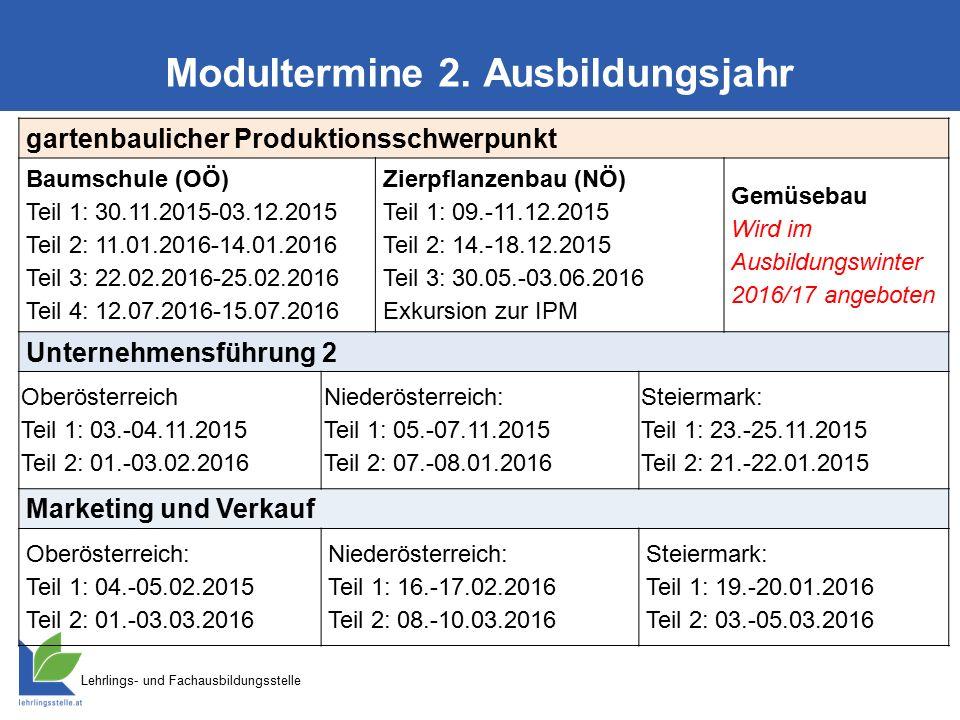 Lehrlings- und Fachausbildungsstelle Modultermine 2. Ausbildungsjahr gartenbaulicher Produktionsschwerpunkt Baumschule (OÖ) Teil 1: 30.11.2015-03.12.2