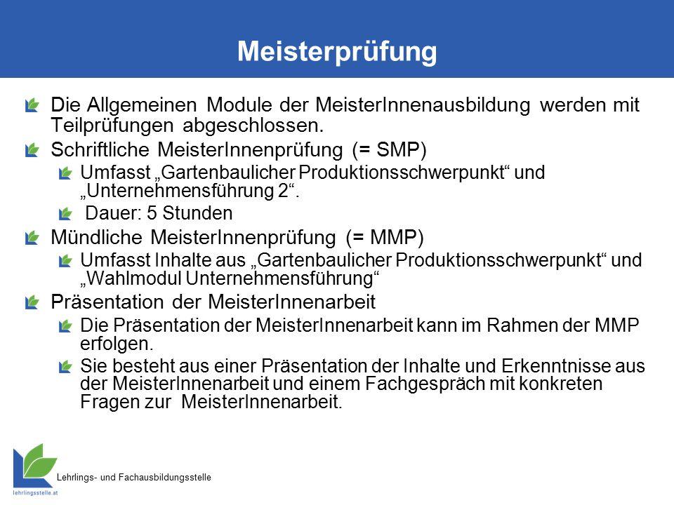 Lehrlings- und Fachausbildungsstelle Meisterprüfung Die Allgemeinen Module der MeisterInnenausbildung werden mit Teilprüfungen abgeschlossen. Schriftl