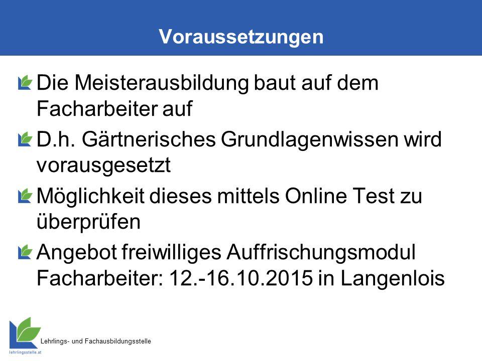 Lehrlings- und Fachausbildungsstelle Voraussetzungen Die Meisterausbildung baut auf dem Facharbeiter auf D.h.