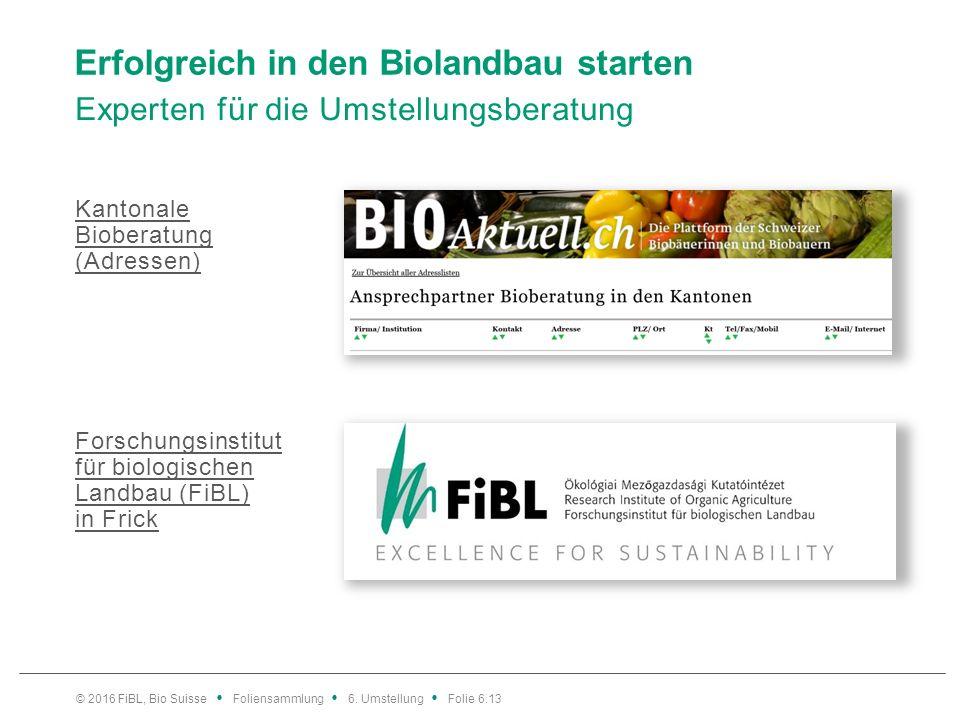 Erfolgreich in den Biolandbau starten Experten für die Umstellungsberatung Kantonale Bioberatung (Adressen) Forschungsinstitut für biologischen Landbau (FiBL) in Frick © 2016 FiBL, Bio Suisse Foliensammlung 6.