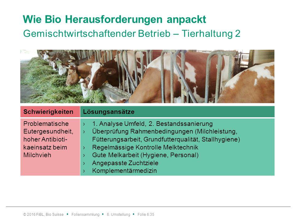 Wie Bio Herausforderungen anpackt Gemischtwirtschaftender Betrieb – Tierhaltung 2 © 2016 FiBL, Bio Suisse Foliensammlung 6. Umstellung Folie 6.35 Schw