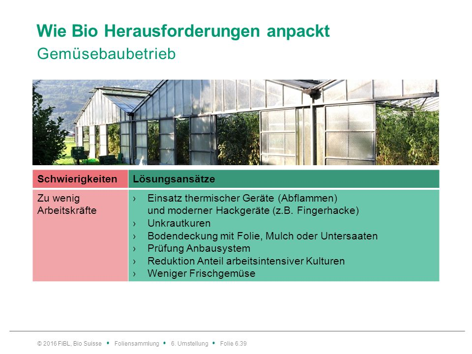 Wie Bio Herausforderungen anpackt Gemüsebaubetrieb © 2016 FiBL, Bio Suisse Foliensammlung 6. Umstellung Folie 6.39 SchwierigkeitenLösungsansätze Zu we
