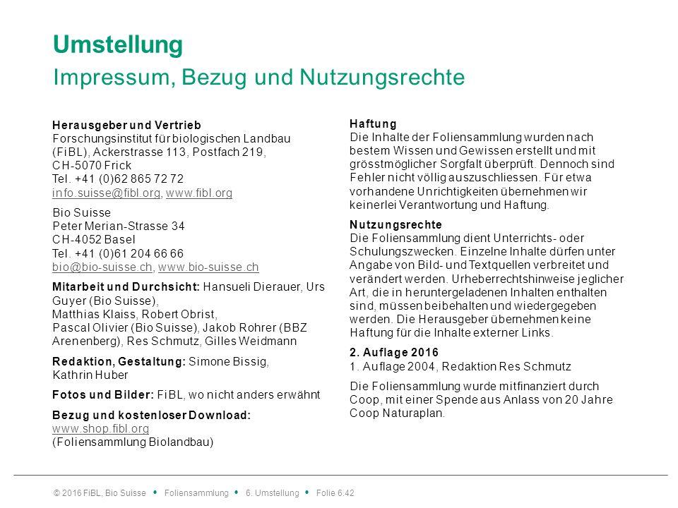 Umstellung Impressum, Bezug und Nutzungsrechte Herausgeber und Vertrieb Forschungsinstitut für biologischen Landbau (FiBL), Ackerstrasse 113, Postfach